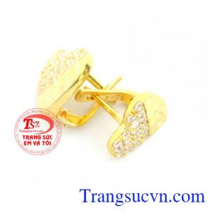 Hoa tai vàng tây 10k đôi trái tim