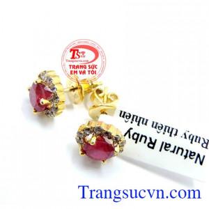 Đôi hoa tai đá ruby vàng 10k