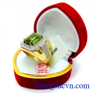 Sản phẩm nhẫn nam đẹp perodot Mệnh Mộc + Hỏa Nhẫn vàng nam vàng tây peridot xanh lá hợp mệnh,thiết kế 3D nhẫn nam phượng hoàng