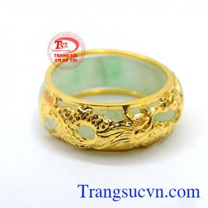 Nhẫn ngọc bọc rồng bản nhỏ vàng 10k