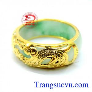 Nhẫn ngọc nam rồng vàng ngọc cẩm thạch