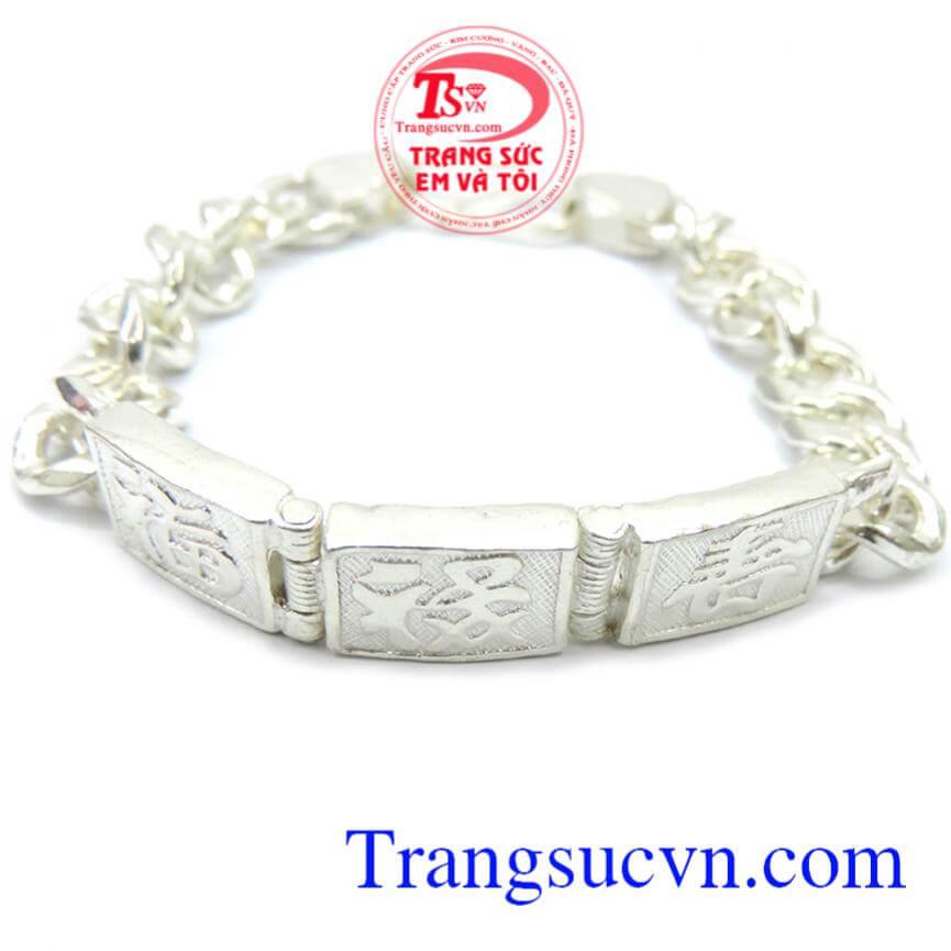 Lắc bạc nam được khắc chữ chung đẹp