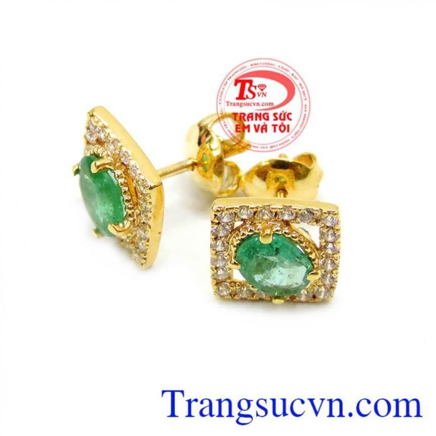 Hoa tai emerald 14k thời trang