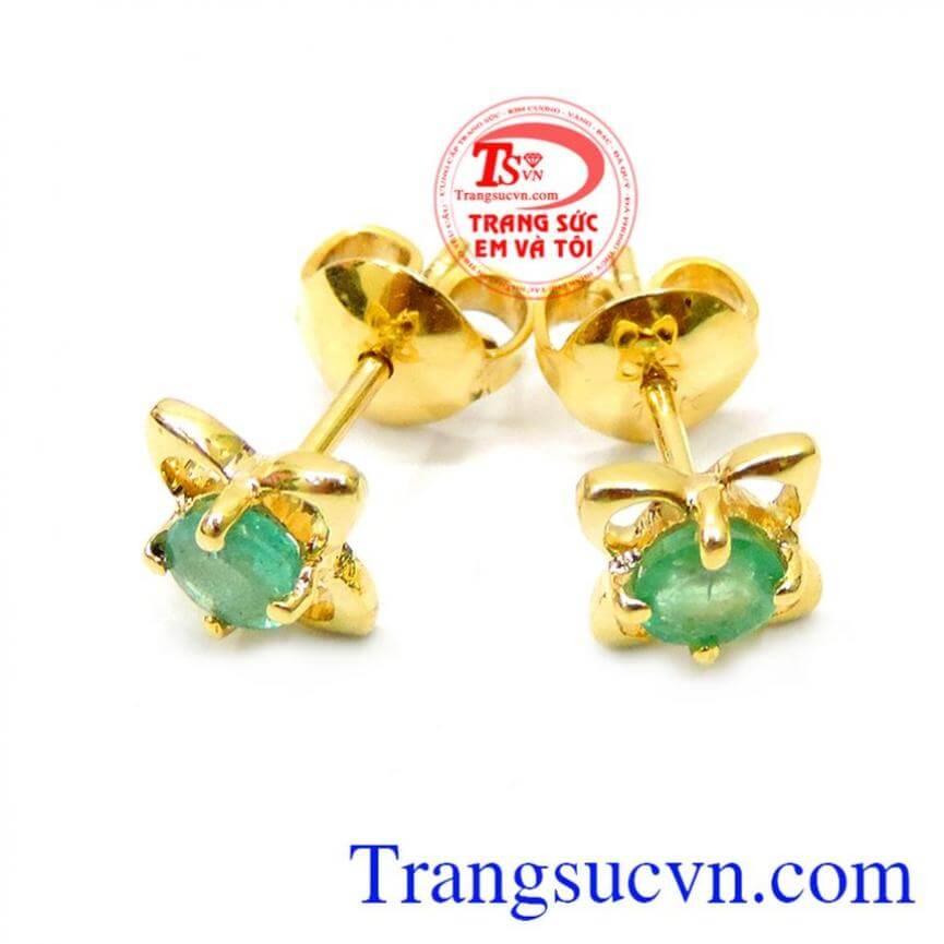 Bông tai hoa 4 cánh gắn đá emerald