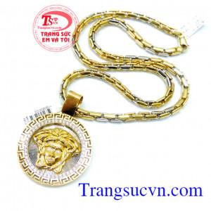 Mặt dây versace vàng 18k đẳng cấp,Dây chuyền vàng 18k italy đeo bền đẹp,Bộ Mặt dây Versace vàng 18k Italy