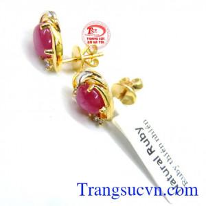 Hoa tai ruby nữ đẹp vàng 14k