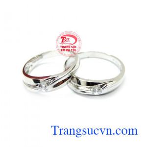 Nhẫn cưới vàng trắng yêu thương