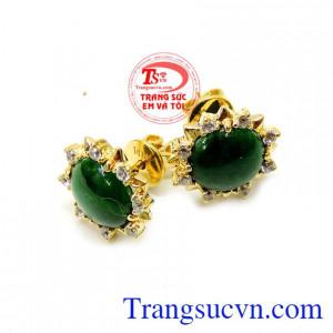 Hoa tai nữ trẻ trung jadeite 14k