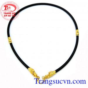 Dây cao su bọc đầu rồng đẹp dây cao su bọc đầu rồng loại trơn kết hợp với 4 đốt vàng hình rồng chất liệu vàng 18k sáng bóng