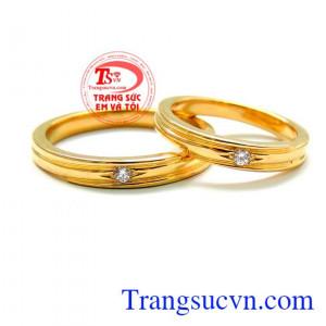 Nhẫn cưới đặc vàng 18k