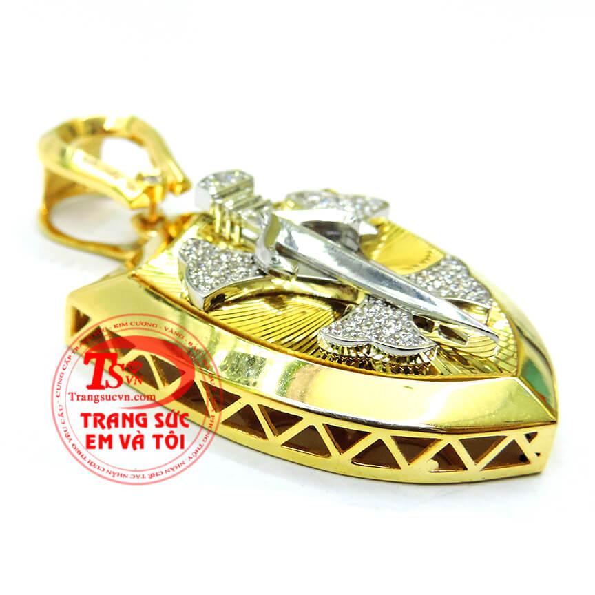 Mặt dây khiên kiếm 10k có giấy kiểm định vàng kèm theo mặt dây chuyền,