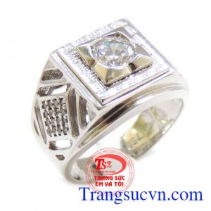 Nhẫn vàng trắng 750