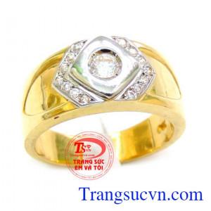 Nhẫn vàng 18k nam đá trắng