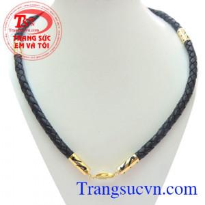 Dây da bọc vàng to chất lượng đảm bảo, Dây da bọc vàng to dùng đeo cùng mặt dây đá quý