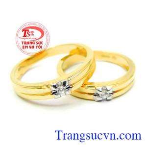 Nhẫn cưới vàng 18k hạnh phúc