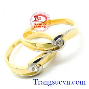 Nhẫn cưới 18k chong chóng tình yêu