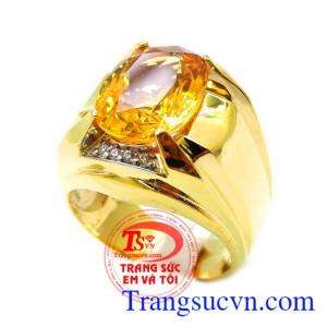 Nhẫn thạch anh vàng mệnh kim
