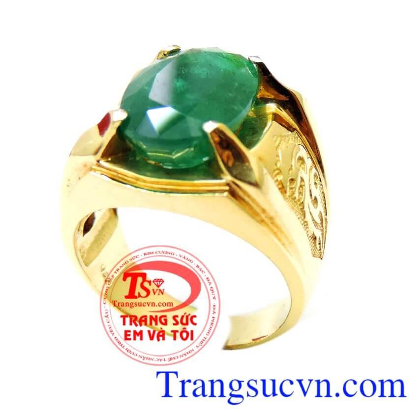 Nhẫn nam vàng Emerald doanh nhân, nhẫn nam đẹp, nhẫn nam đá quý