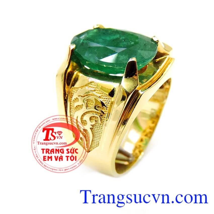 Nhẫn nam vàng Emerald doanh nhân