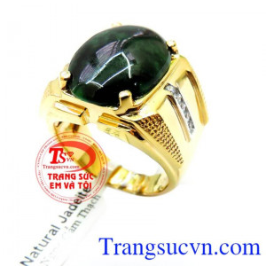 Nhẫn nam vàng Jadeite Mệnh Hỏa
