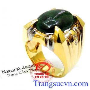 Nhẫn Vàng 14k Ngọc Cẩm Thạch Mệnh Hỏa
