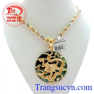 Bộ Mặt rồng vàng 18k Ngọc Phỉ Thúy