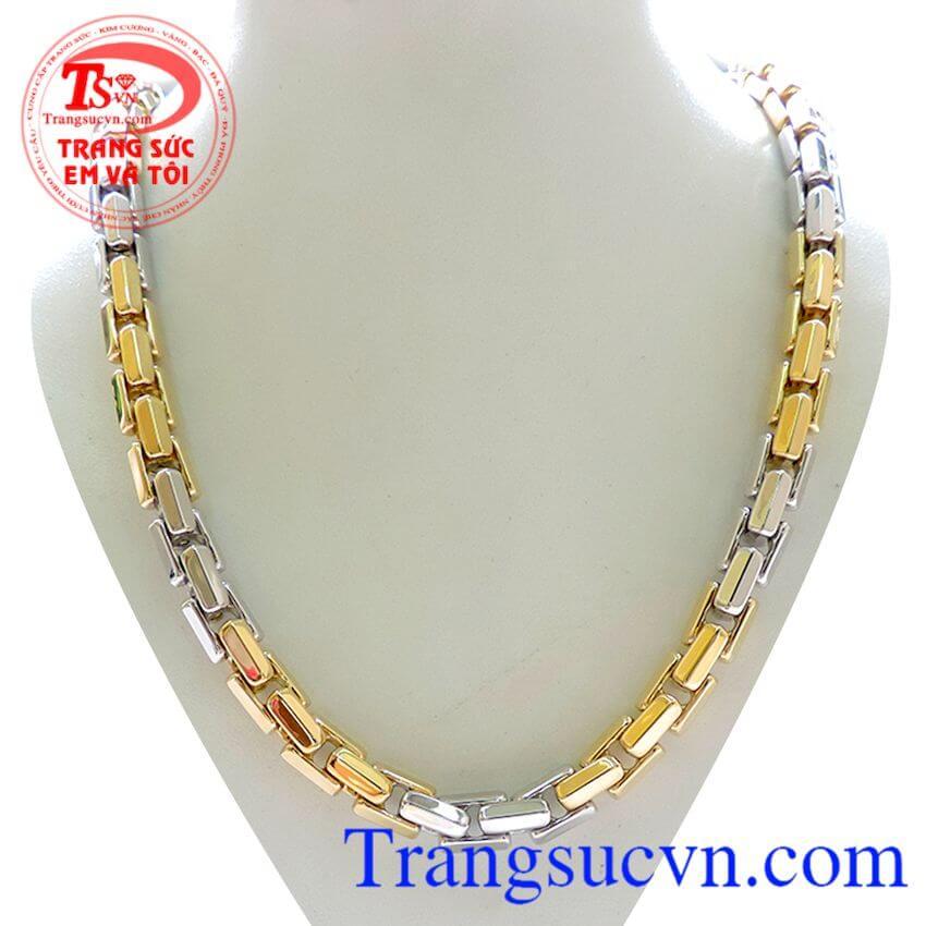 Dây chuyền vàng 18k 750,Hai màu vàng và Vàng trắng đúc đặc đeo nam tính và đẳng cấp