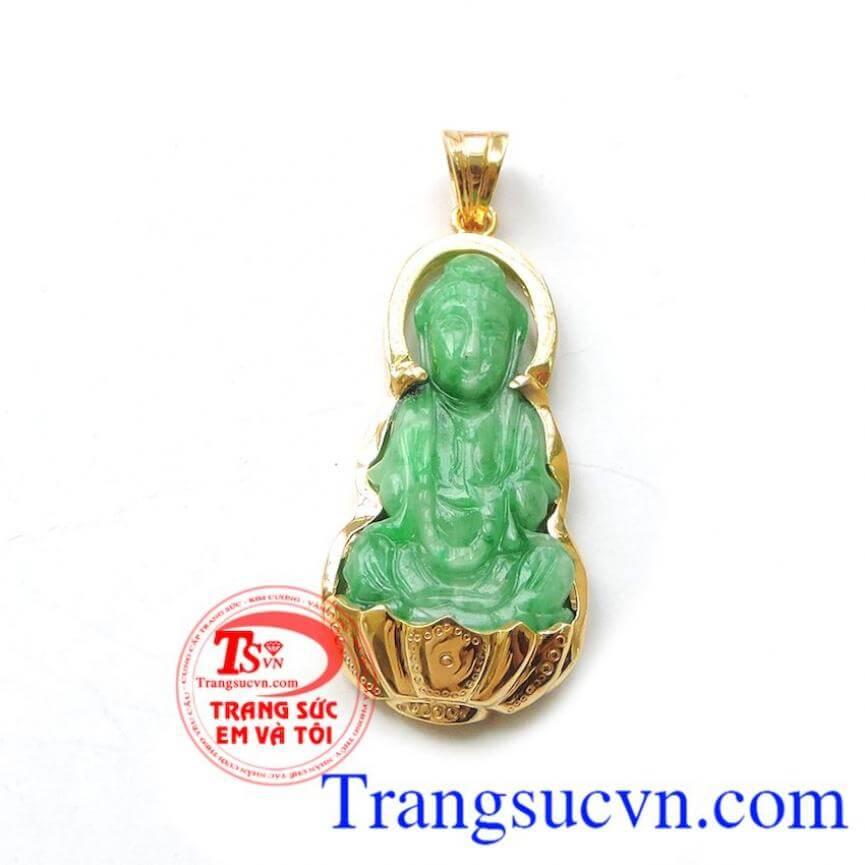 Mặt phật ngọc jadeite vàng 14k