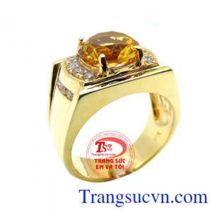 Nhẫn nam đá vàng tròn