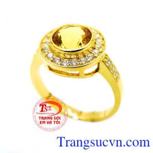 Nhẫn nữ mệnh kim vàng 14k Citrine