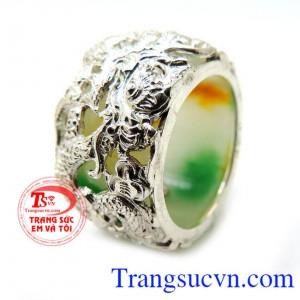 Nhẫn Ngọc xử lý bọc bạc rồng