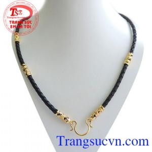 Dây da bọc vàng rồng 5 đốt,họa tiết khỏe và nam tính, phù hợp đeo mặt dây vàng
