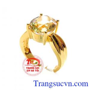 Nhẫn nữ Thạch Anh Vàng sang trọng