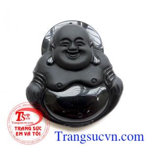 Phật Di Lặc đá Obsidian đeo bình an