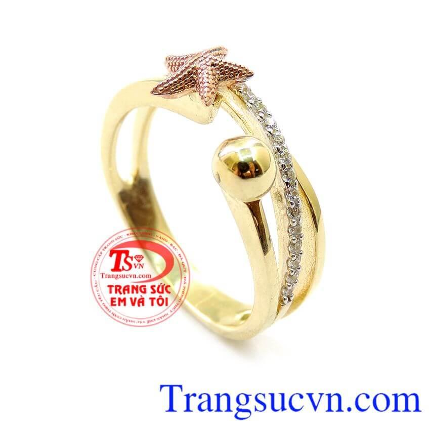 Nhẫn Nữ Vàng Tây Sao Biển Đẹp