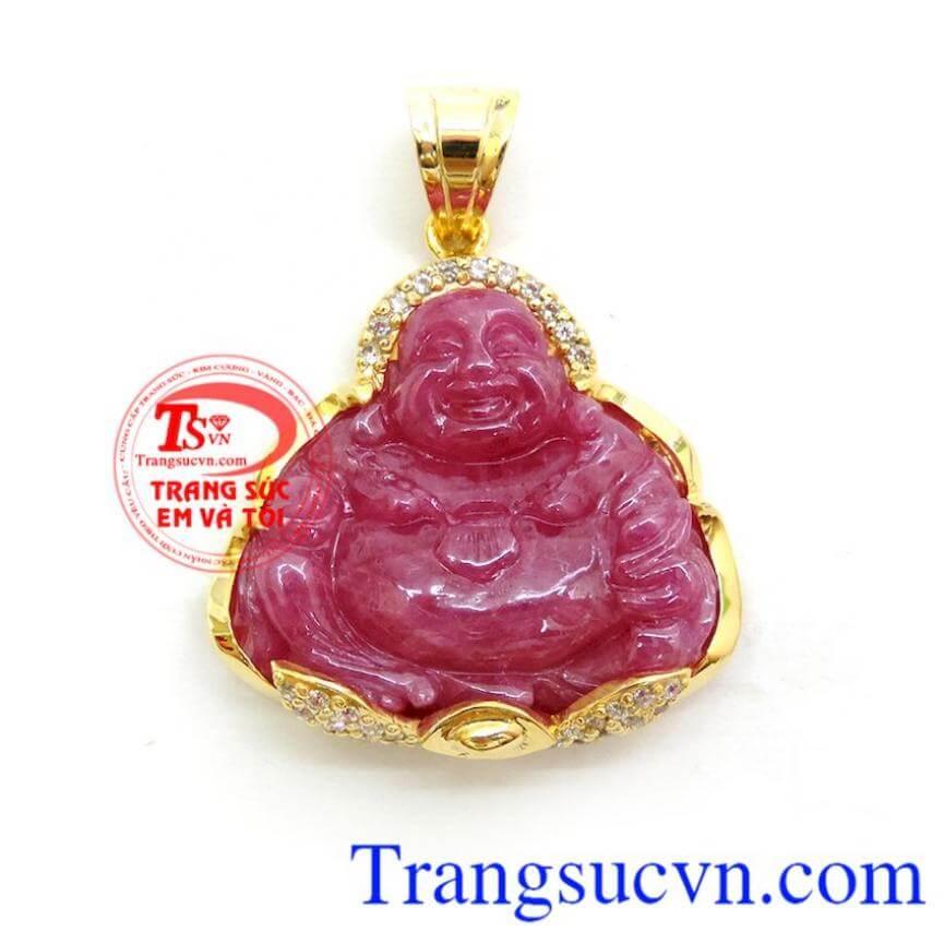 Mặt Phật Di Lặc Ruby Bọc Vàng 14k