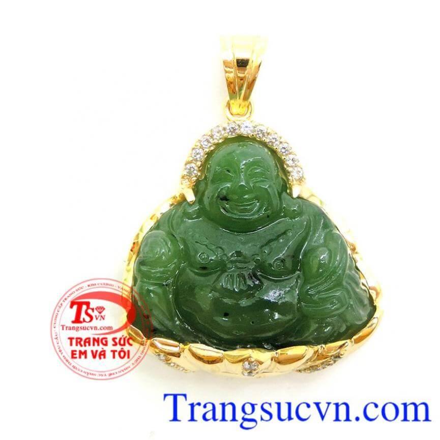 Mặt Phật Di Lặc Nephrite 14k