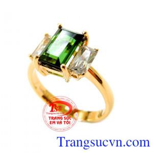 Nhẫn nữ Tourmaline xanh