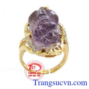 Nhẫn nữ tỳ hưu amethyst đẹp