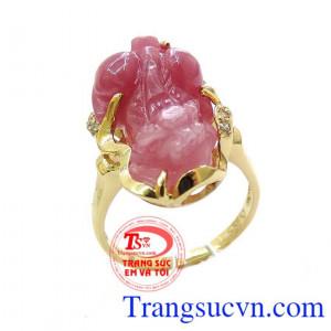 Nhẫn tỳ hưu nữ ruby tinh tế