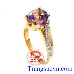 Nhẫn Nữ Vàng 14k Gắn Đá Thạch Anh Tím