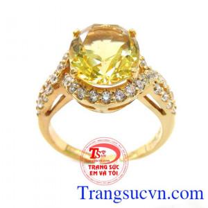Nhẫn Nữ Đá Thạch Anh Vàng