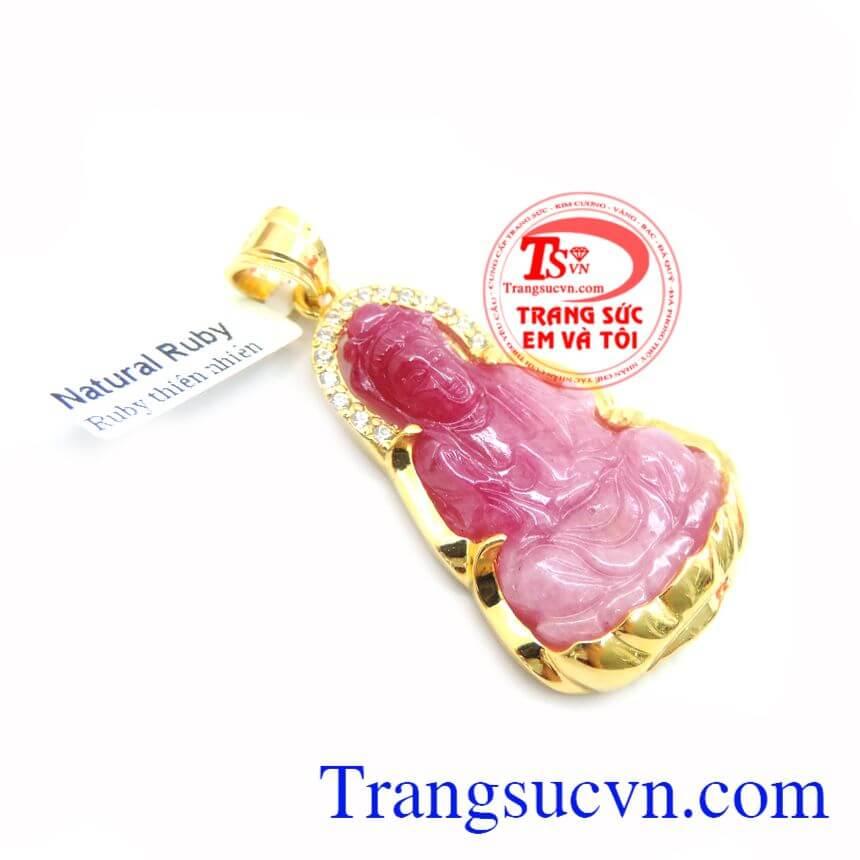 Mặt Phật Quan Âm Ruby Bọc Vàng 10k chất lượng cao