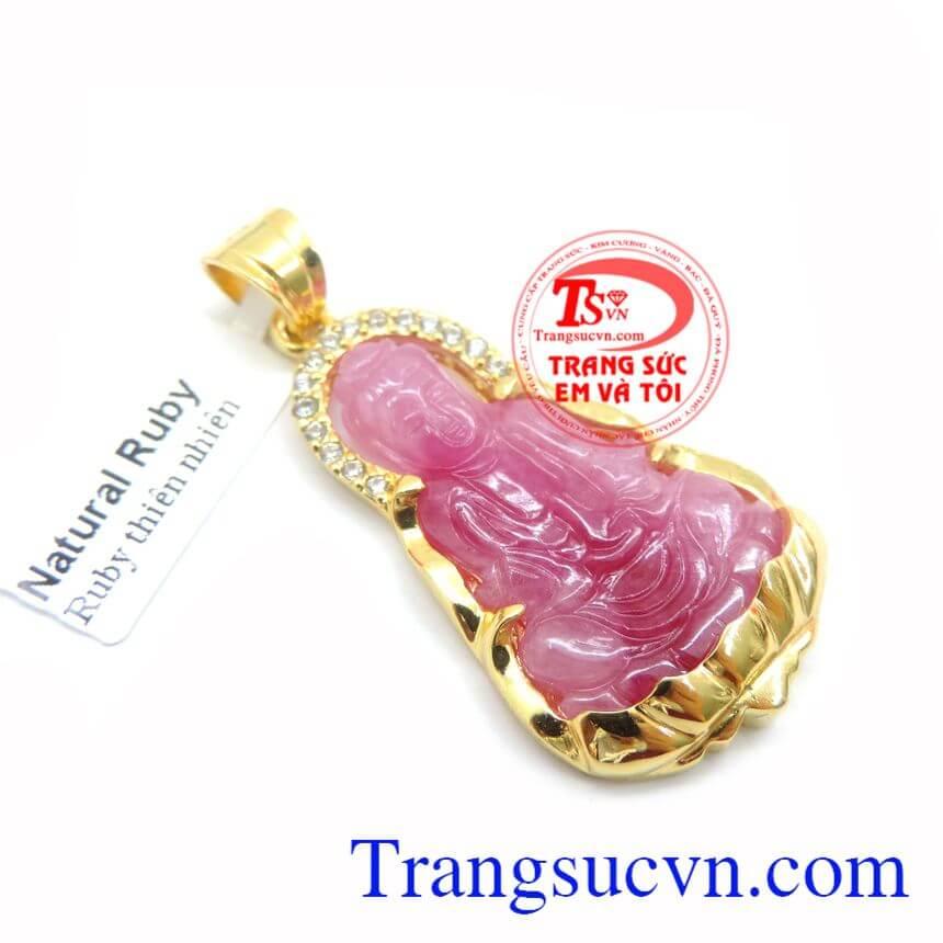 Mặt Phật Ruby Bọc Vàng Tinh Tế, mặt dây chuyền nam, mặt ruby bọc vàng đẹp