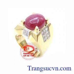 Nhẫn Nam Đá Ruby Tài Lộc