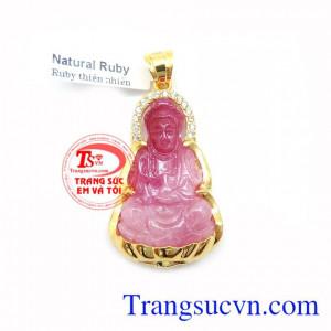 Mặt Phật Quan Âm Ruby Bọc Vàng 10k, mặt dây chuyền nam đẹp, mặt phật ruby bọc vàng 10k