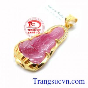 Mặt phật quan âm ruby vàng 10k Món quà ý nghĩa dành tặng cho mọi người ai ai đều đeo được
