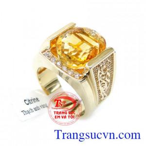 Nhẫn Nam Đá Thạch Anh Vàng