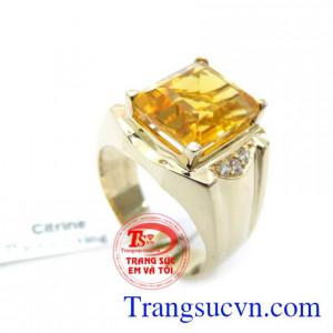 Nhẫn Nam Đá Thạch Anh Vàng 14K May Mắn