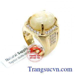 Nhẫn Nam 14K Gắn Đá Saphire Thiên Nhiên